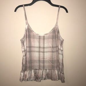 Cloth & Stone Plaid Print Tank Top